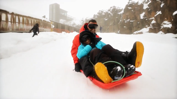 Nic and Cyrell are loving their snow-bound honeymoon (Image: Nine Network).