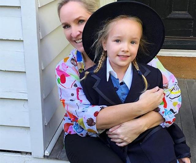 She didn't want to let go! Fifi shared an adorable series of images as her daughter prepared for her first day of school. *(Image: Instagram /@fifi_box)*