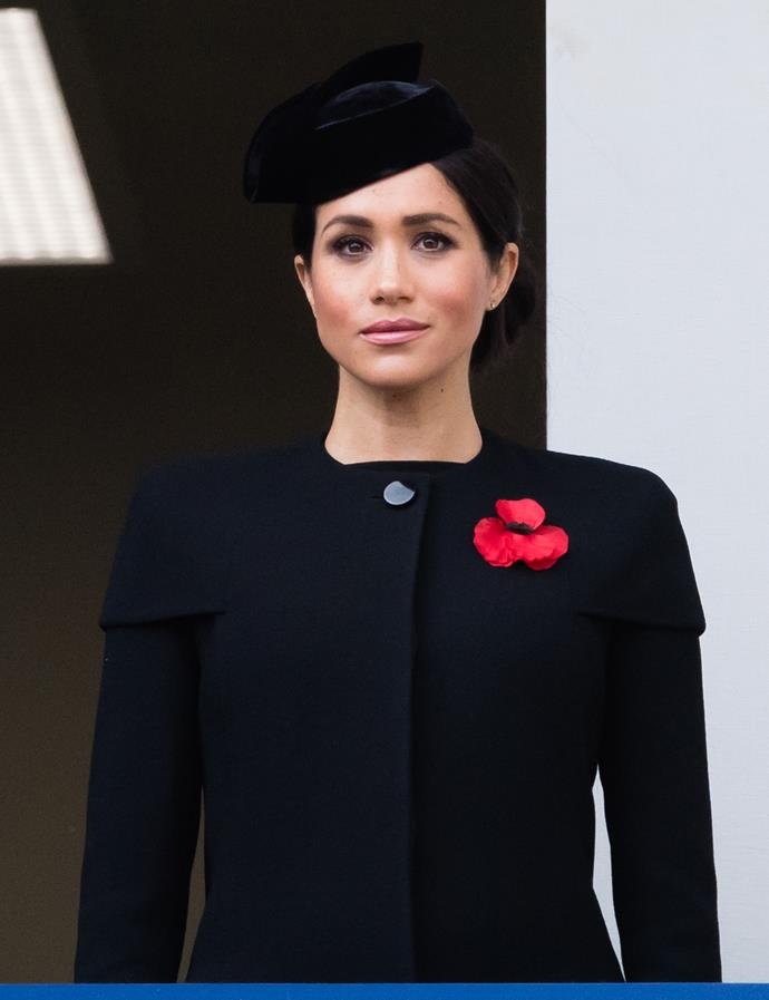 Meghan wore the same Givenchy coat in November last year. *(Source: Getty)*