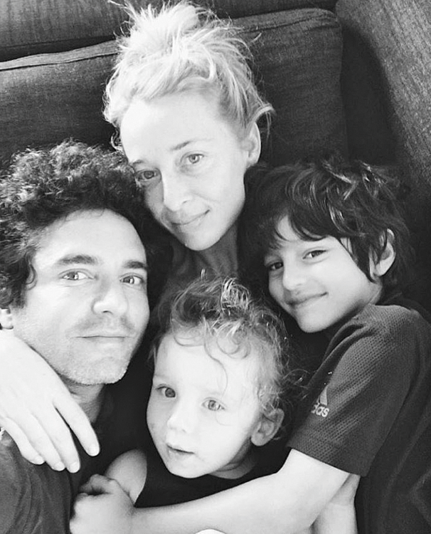 Asher with her husband Vincent Fantauzzo, son Valentino and stepson Lucas.