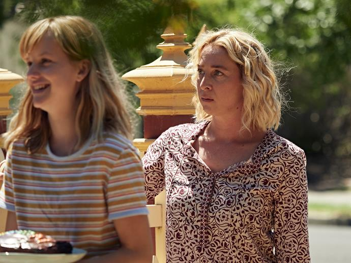 Asher with her on-screen daughter Markella Kavenagh, who plays Chloe (Image: ABC).