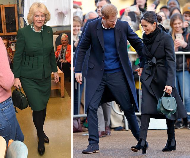 Bag buddies: The duchesses have even been sharing style tips with each other. *(Images: Getty Images)*