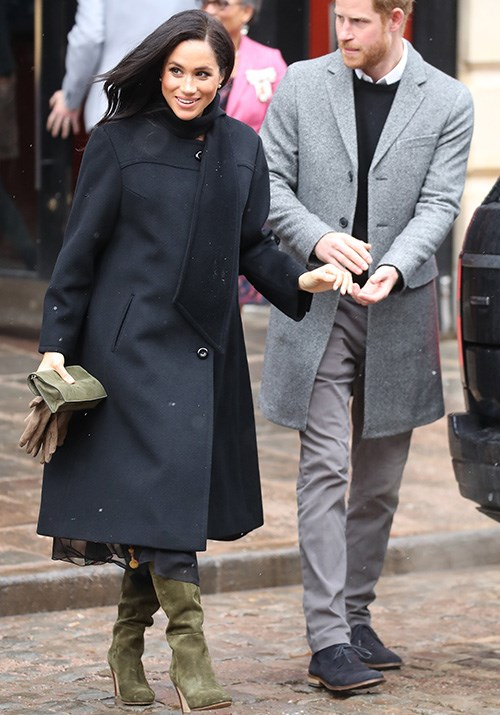 The 37-year-old royal wore a vintage William coat and chic Sarah Flint boots, which incidentally retail for a cool AUD $960 - a brave choice given the weather! *(Image: Getty Images)*