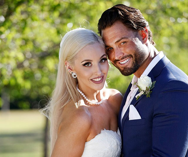 Elizabeth, who was matched with Sam, wanted a bold look for her wedding day make-up. *(Image: Channel Nine)*