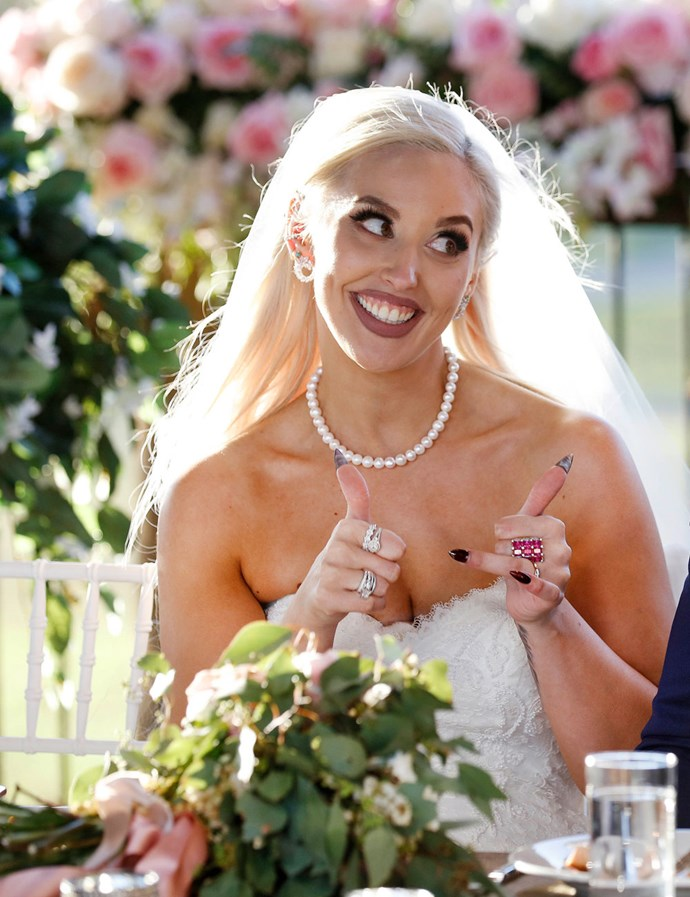 Elizabeth on her wedding day on *MAFS* (Image: Nine Network).