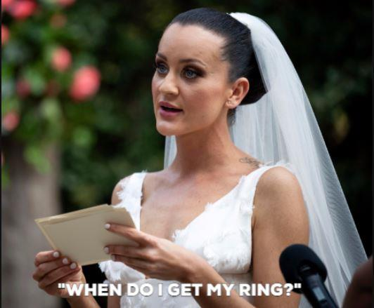 """As debate team captain... we mean, in her wedding speech, Ines was robotic and matter of fact. And after she finished, she made sure Bronson was well aware of her intentions. """"When do I get my ring?"""" she said."""