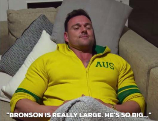 """So you'll just definitely be sleeping on the couch,"" Ines tells Bronson when they get back to their hotel.  ""Bronson is really large. He is so big and this is a double bed...We won't fit and I just don't think I'm ready for that."" *(All images: Channel Nine)*"