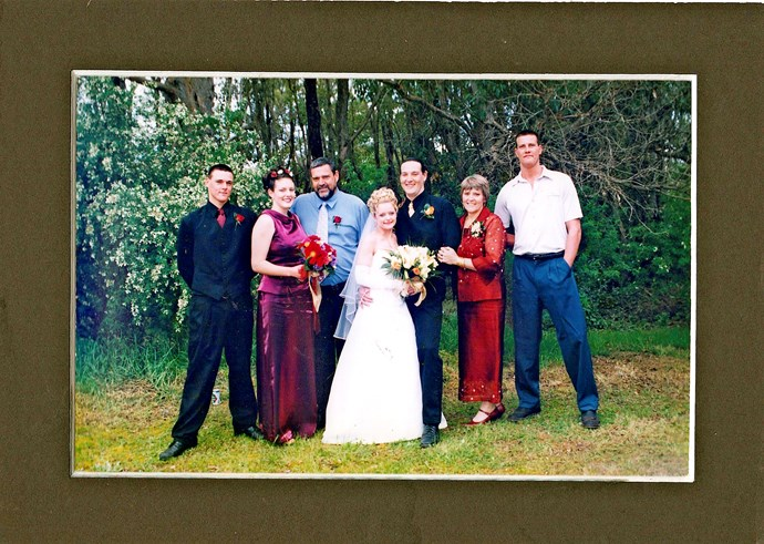 From left: Bronson, sister Nateisha, dad Neil, Brodie and his wife Sancha, and Sasha (Image: Supplied).