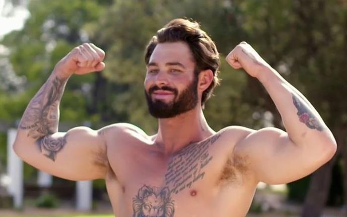 Sam's ego is as big as his tattoos. *(Image: Channel Nine)*