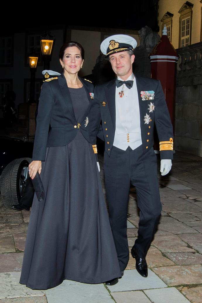 **February 2019, Denmark** <br><br> A royal pairing for the ages! Attending a banquet for Naval officers at Fredensborg Castle, Mary and Prince Frederik oozed class in their military ensembles.