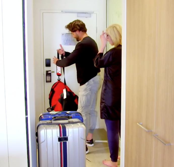 Sam leaves for the airport. *(Source: Channel 9)*