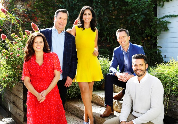 The cast of Escape From The City: Hosts Jane, Simon Marnie, Del Irani, Bryce Holdaway and Dean Ipaviz (ImageL ABC).