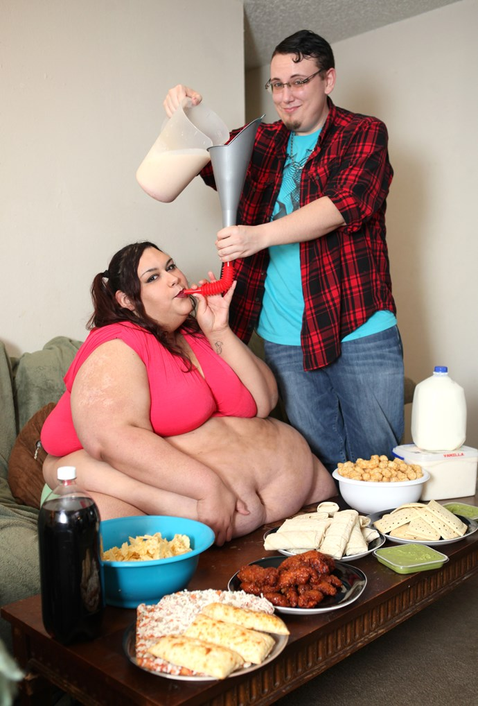 """**Feeding fetish**  <br><br > Sid loved feeding his morbidly obese fiancé Monica Riley to help her gain weight.  <br><br > Weighing a whopping 318kgs, Monica was well on the way to achieving her goal of being named [the fattest women in the world](https://www.nowtolove.com.au/news/real-life/boyfriends-feeder-fat-fetish-made-me-obsese-46760