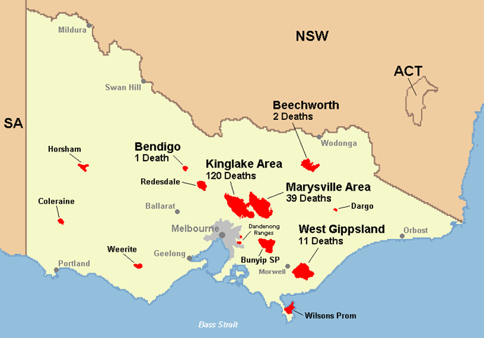 A map outlines the total number of devastating deaths as a result of the bushfires. *(Image: Supplied)*