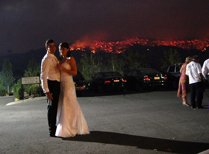 Ben and Liz van Deventer's wedding was taking place when the fire swept in, and staff battled to save the venue. *(Image: Supplied)*