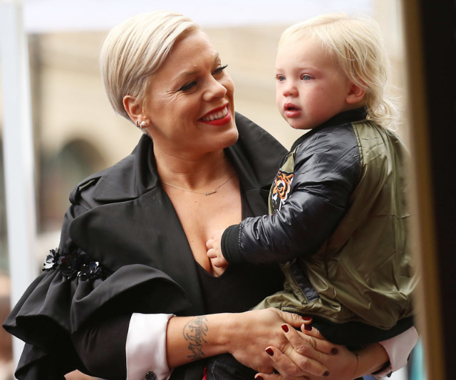 """Pink called her children her """"stars"""" and thanked them for making her """"shine"""". *Image: Getty Images.*"""