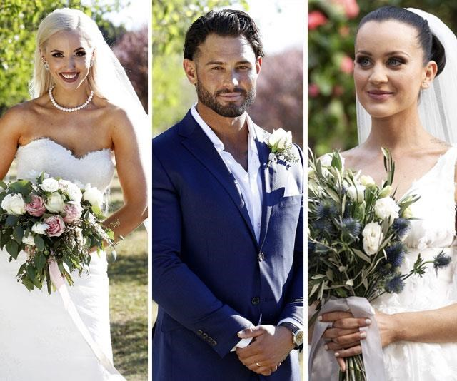 Introducing our 2019 *MAFS* love triangle: Sam is believed to cheat on Elizabeth with Ines. *(Images: Channel Nine)*
