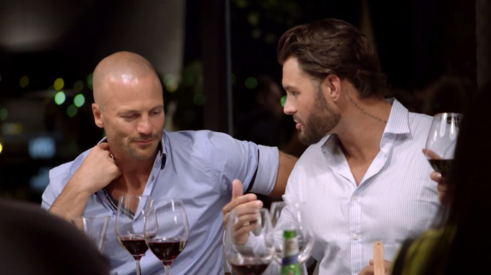 "Sam and Mike discuss how men are ""logical"" (Image: Nine Network)."