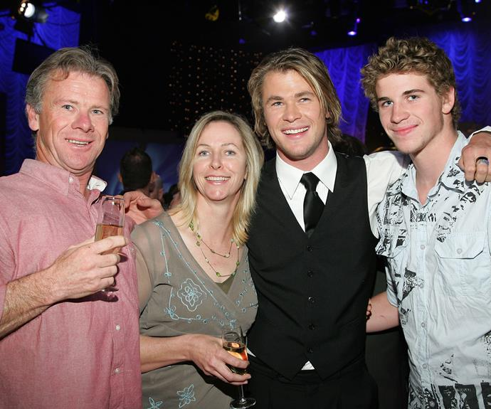 The Hemsworth family coming to support Chris - and yes that is a young, pre-Miley Liam Hemsworth on the right! *(Image: Getty)*
