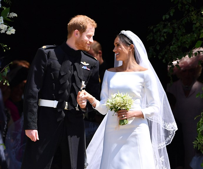 The Duke and Duchess on their wedding day. *(Image: Getty)*