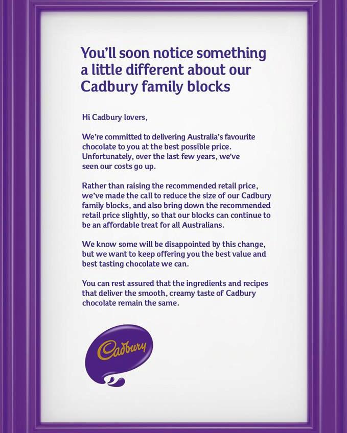 Cadbury's official announcement on Facebook.