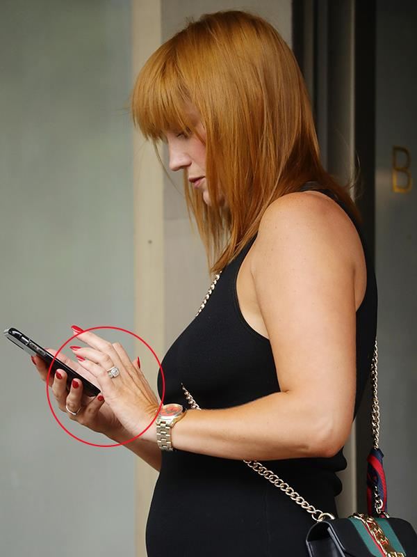 Bling watch: Jules was spotted with a new ring in Sydney recently. *(Image exclusive to Matrix)*