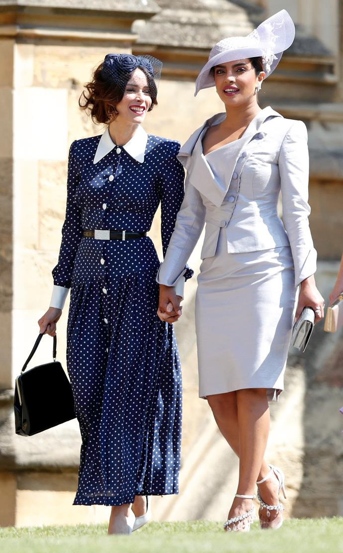 Abigail Spencer (left) and Priyanka Chopra at the royal wedding. *(Image: Getty)*