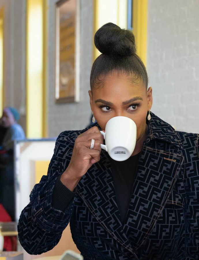 """Serena Williams posted this image to Twitter today with the caption: """"Sips tea"""". *(Image: Twitter)*"""