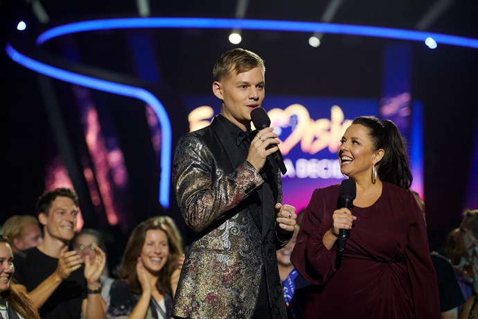 Joel and Myf are excited for the first ever Eurovision - Australia Decides (Image: SBS).