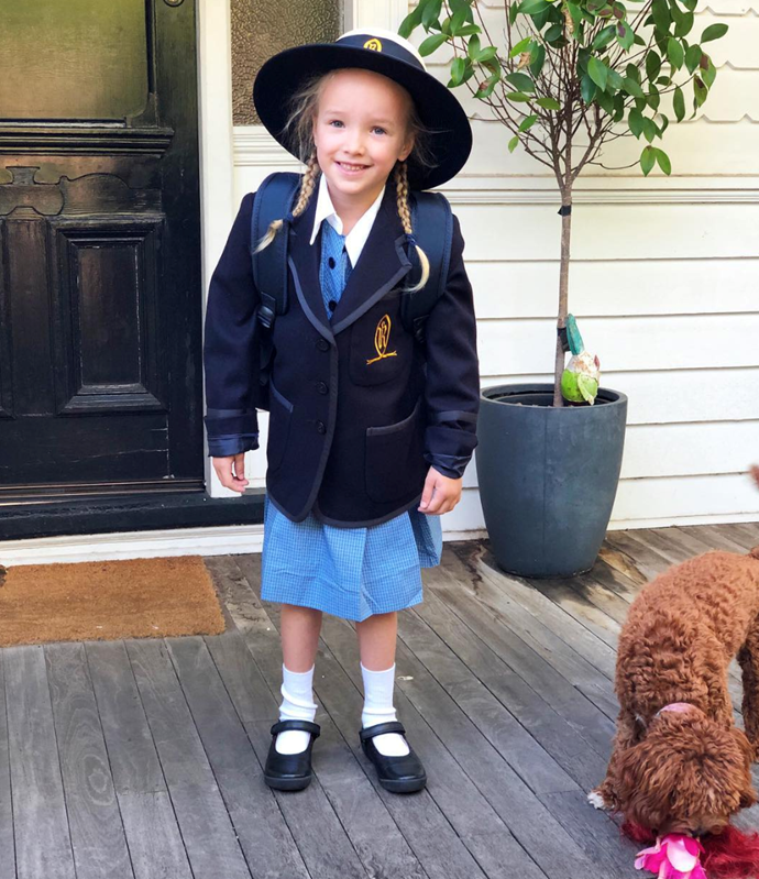 Trixie on her first day of school! *(Source: Instagram)*
