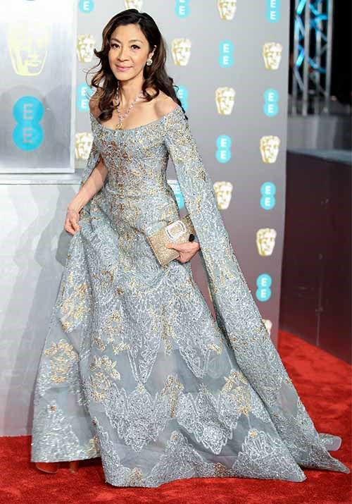 Michelle Yeoh, who starred in *Crazy Rich Asians* looked heavenly in a grey embellished gown. *(Image: Getty)*
