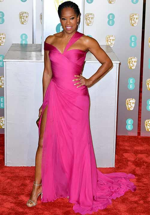 Regina King, star of  *If Beale Street Could Talk*, brought a pop of colour to the night! *(Image: Getty)*