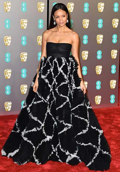 Thandie Newton opted for this voluminous in a black and white ensemble. *(Image: Getty)*