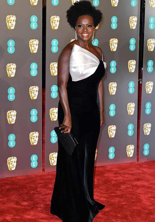 *Widows* actress Viola Davis looked elegant in a black and white frock.*(Image: Getty Images)*