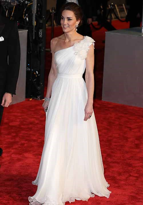Kate's new white one-shoulder gown, by Sarah Burton for Alexander McQueen, was the perfect choice for the glamorous evening. *(Image: Getty Images)*