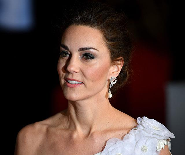 In a beautiful touch, Kate opted to wear Princess Diana's diamond-encrusted pearl-drop earrings. *(Image: Getty)*