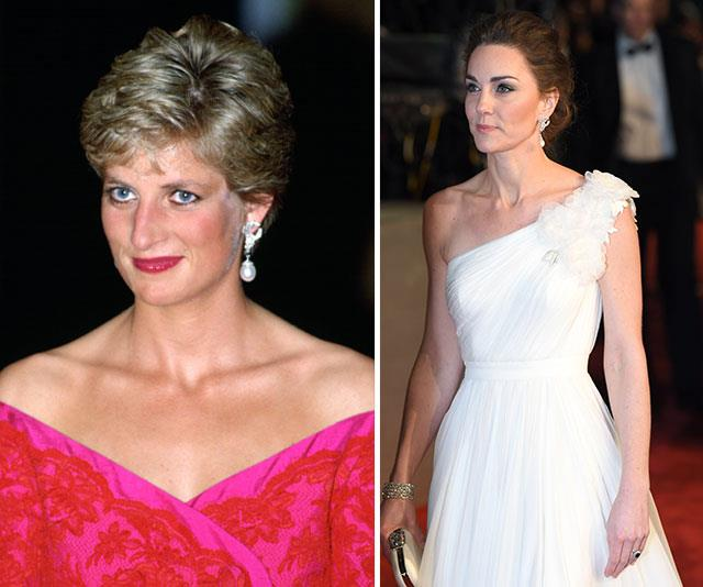 Coming full circle: Diana in the dazzling accessories during an event at the Royal Albert Hall in 1991 and decades later, Duchess Catherine wears the same jewels in the same location. *(Both images: Getty)*
