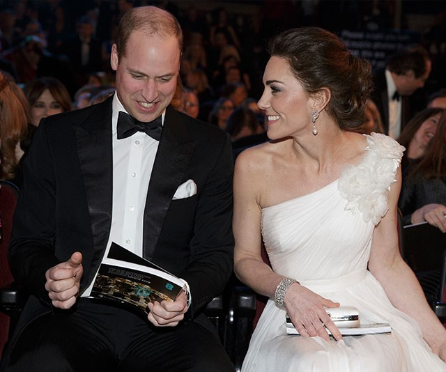 It was a royal night out for BAFTA president Prince William and his wife, Duchess Catherine. *(Image: Getty)*