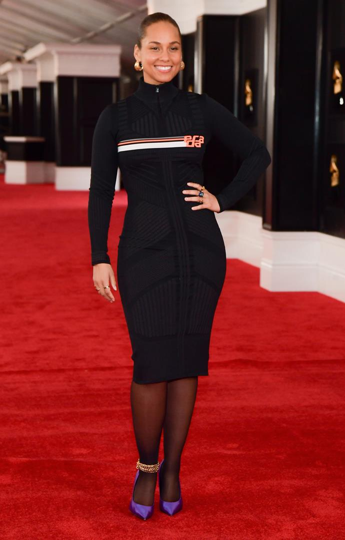 Alicia Keys goes sporty chic for the red carpet. *(Image: Getty)*
