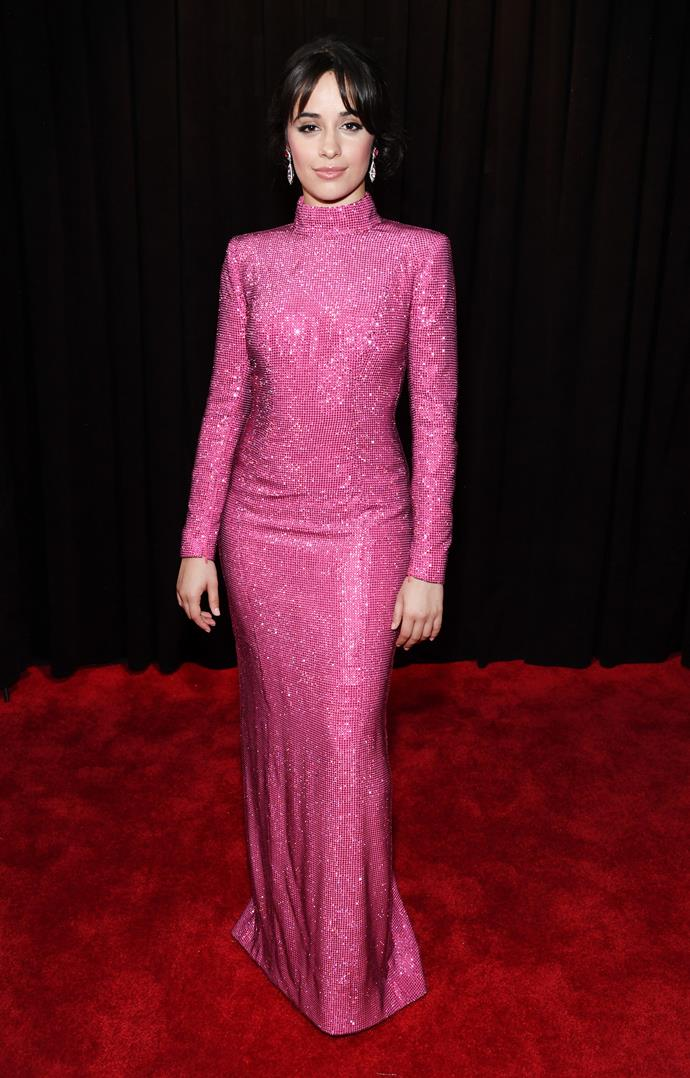 Former Fifth Harmony singer Camila Cabello is oozing glam in this fuchsia embellished gown. *(Image: Getty)*