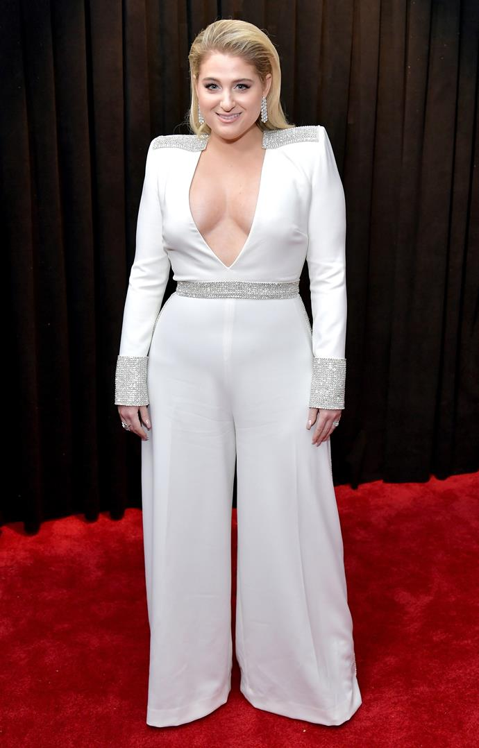Songstress Meghan Trainor puts a modern spin on the 80s shoulder pads - and she rocks it like no other! *(Image: Getty)*