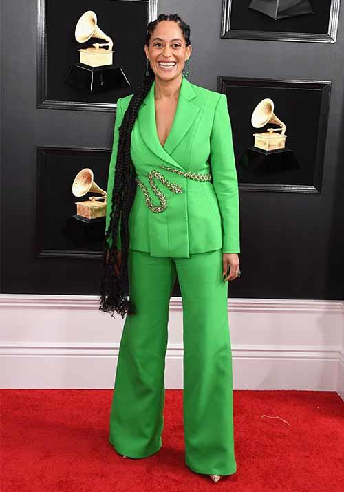American actress Tracee Ellis Ross is colour-blocking with the Grammys red carpet like a true pro. *(Image: Getty)*