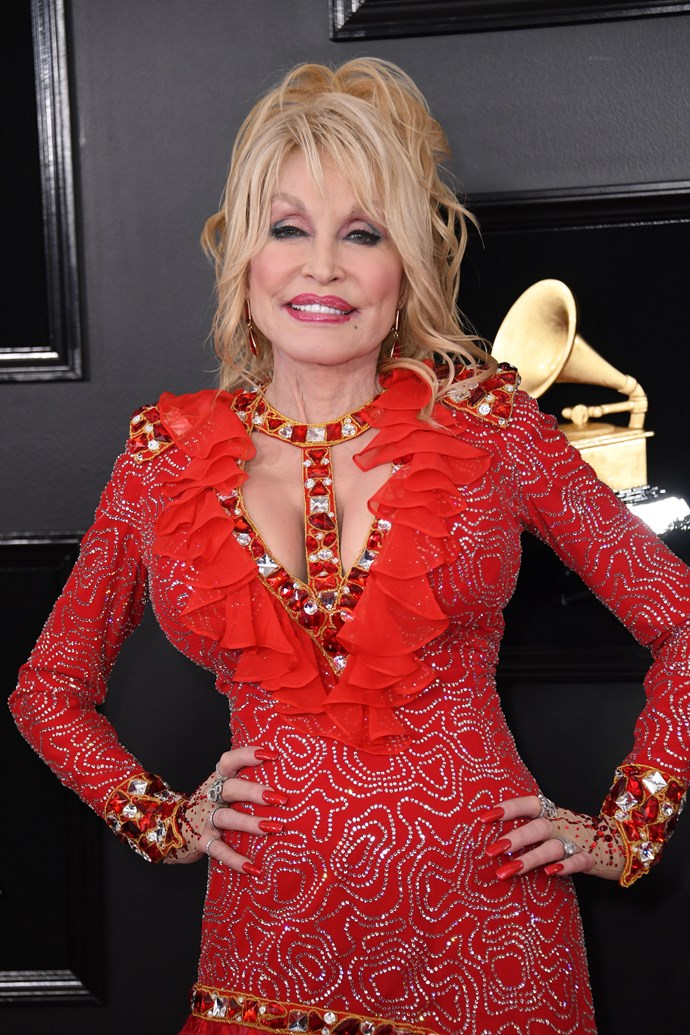 Dolly Parton at the 61st Grammy Awards. *(Image: Getty)*