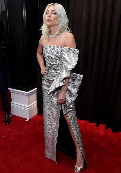 Silver siren! Lady Gaga looks the image of glam in this metallic ensemble. *(Image: Getty)*