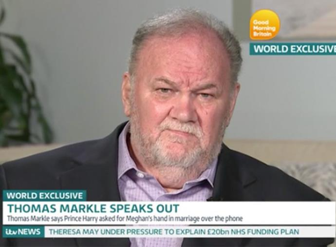 Thomas Markle has spoken out on live TV about his fractured relationship with Meghan. *(Image: Good Morning Britain)*