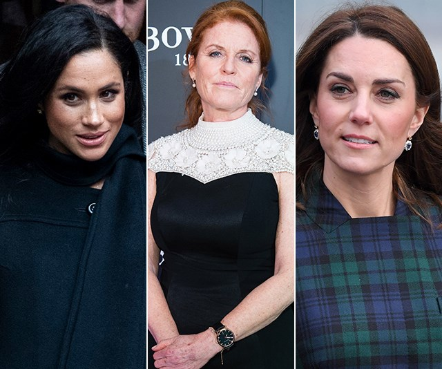 Sarah Ferguson has weighed in on the rumoured rift between Meghan and Kate. *(Images: Getty)*