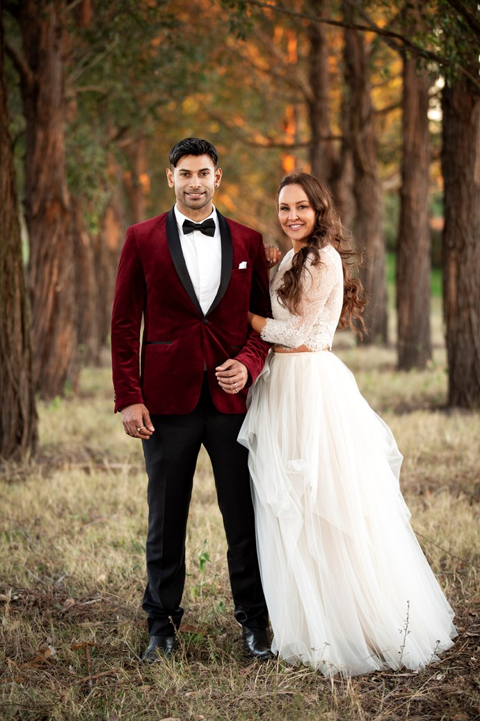 Melissa with her husband Dino on MAFS (Image: Nine Network).