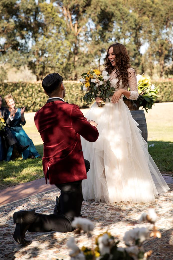 "Dino ""proposes"" to Melissa on their wedding day (Image: Nine Network)."