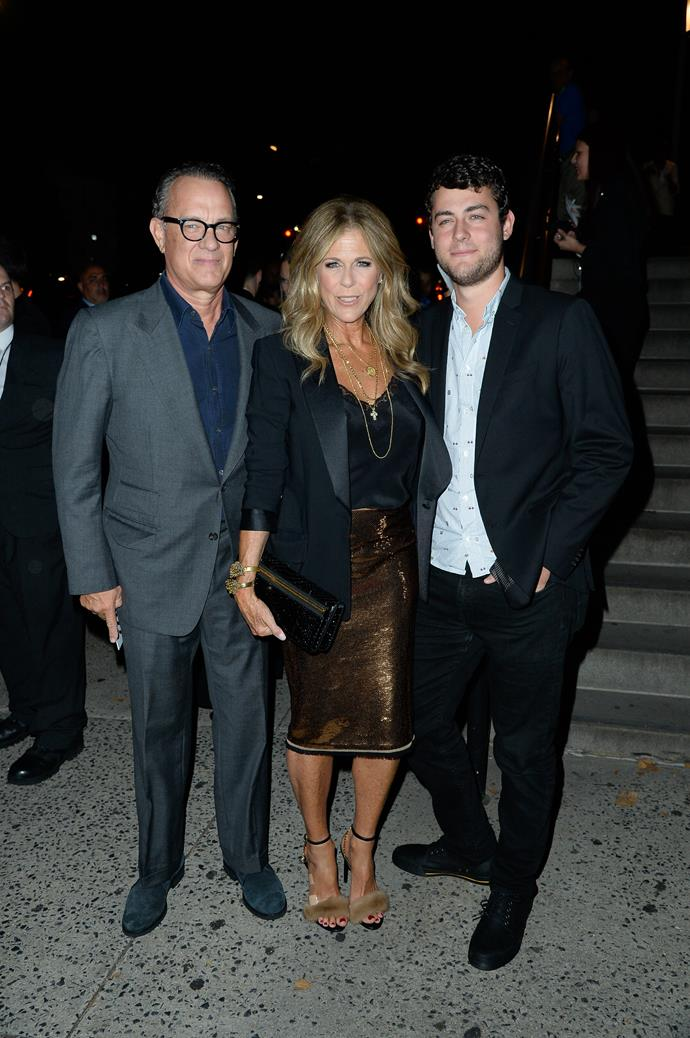 Tom and Rita with their son Truman Hanks. *(Image: Getty)*