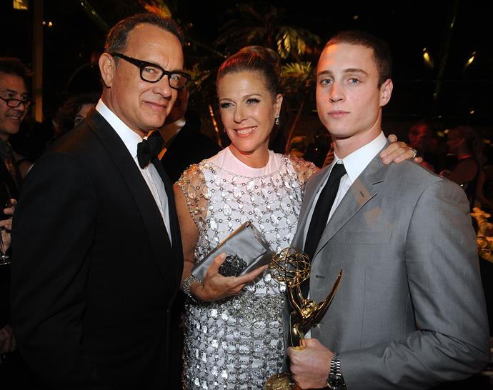 Tom Hanks, Rita Wilson and Chester Hanks. *(Image: Getty)*